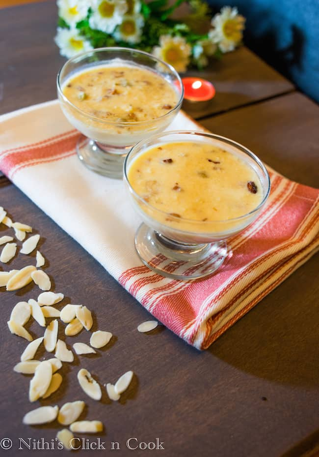 Paneer Kheer is an indian dessert made with cottage cheese, milk and added lots of dry fruits.
