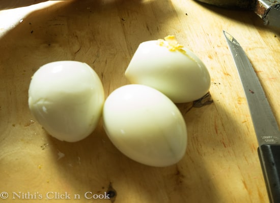 Boil the eggs, de-shell them and make some slits.