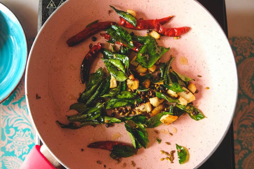 Saute until the curry leaves are crisp (Also make sure to keep an eye on the ingredients)
