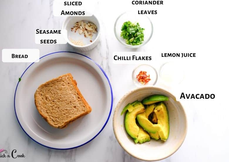 sliced avocado, bread and herbs are in the plates