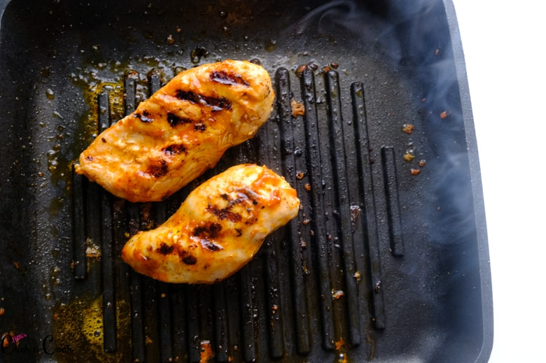 barbecue chicken recipe is on the grill pan