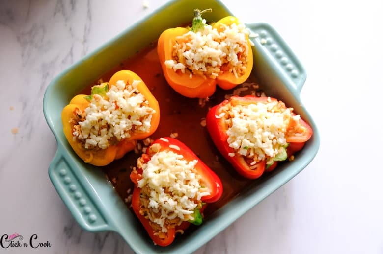 italian stuffed pepper are in the baking tray